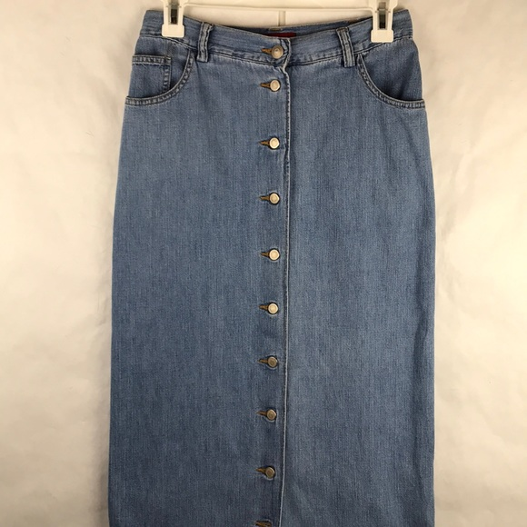EUC vintage Banana Republic maxi denim button skir